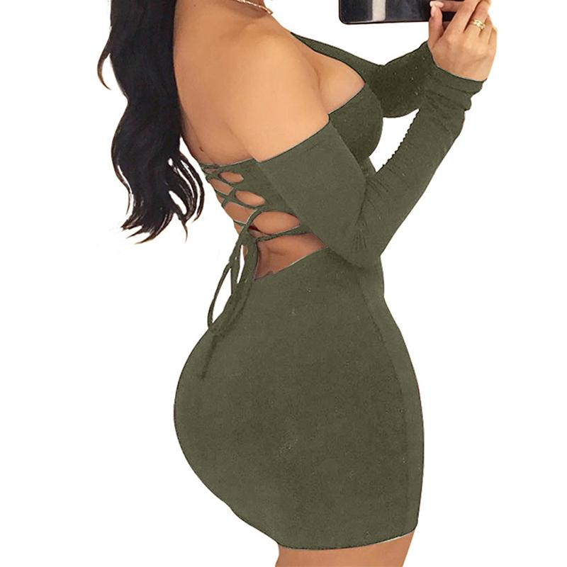 2018 Fashion Women Sexy Dresses Long Sleeve Off Shoulder Open-Back Dress Slim Bodycon Mini Casual Night Dresses