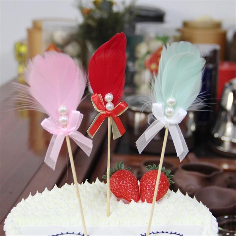 Grosshandel 10 Stucke Feder Bowknot Perle Cupcake Kuchen Topper Happy