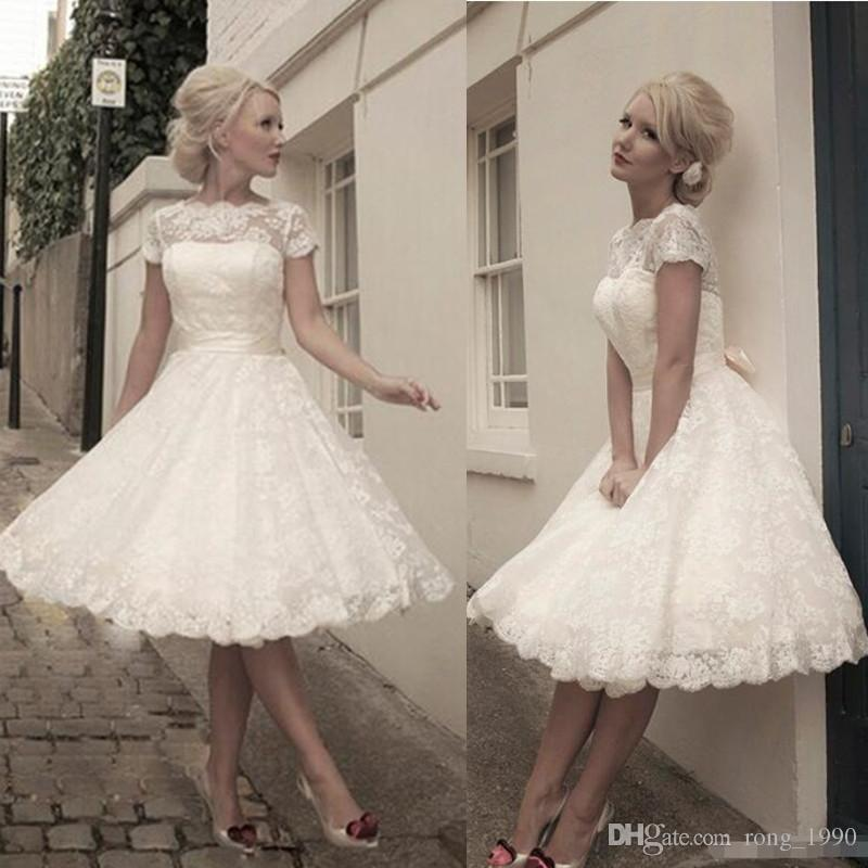 1950\'s Style Short Wedding Dresses Bateau Lace Ribbon Cover Button ...