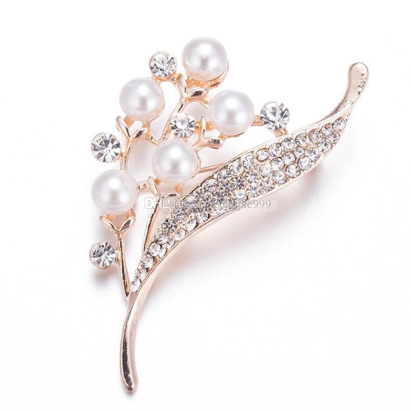 High Quality Crystal Rhinestone Pearl Flower Shape Metal Brooches Rose Gold Plated Brooch Pins Wedding Bridal Fashion Jewelry