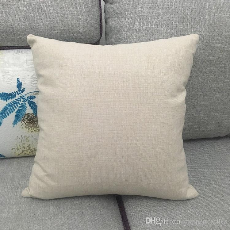 20x20 Inches Blank Polyester Linen Pillow Case Plain Burlap Pillow