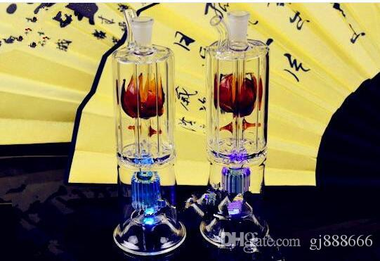 Flower Core Hookah Two Layer Layer ,Wholesale Bongs Oil Burner Pipes Water Pipes Glass Pipe Oil Rigs Smoking