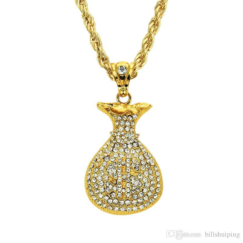 Gold Plated Purse Pendant Necklace Rhinstone US Dollar Sign Cool Fashion USD Money Bag Shape Hip Hop Men Jewelry For Gifts