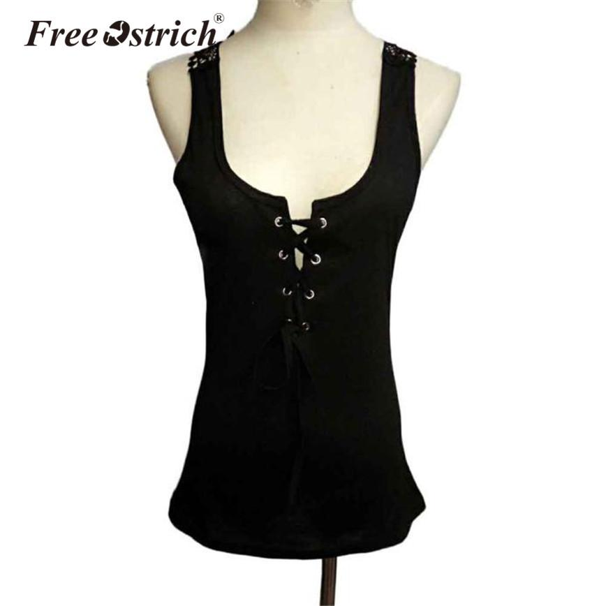 5e7fb4377bf Free Ostrich Tops Summer Tank Women Sleeveless Lace Up Criss-Cross Back  Hollow Out Women Tops Lace Spliced Bodycon Dropshipping
