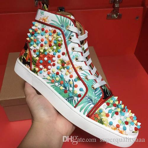 07be1cb125b1 Ship with Box! Sneakers Perfect Flower Leather High Top Red Bottom ...