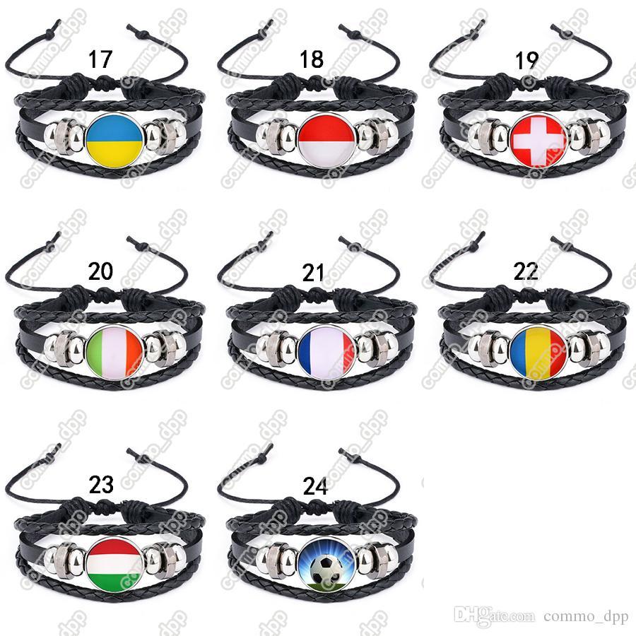 Esportes da Copa do mundo Pulseiras de bandeira Nacional corda De Couro Trançado Pulseira 18 MM botão de pressão de gengibre pulseira charme Para womenmen Moda Jóias