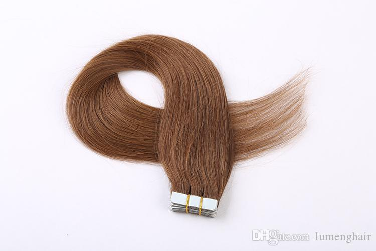 Skin Weft Human Hair Straight Tape In Extension Non Remy Hair Double