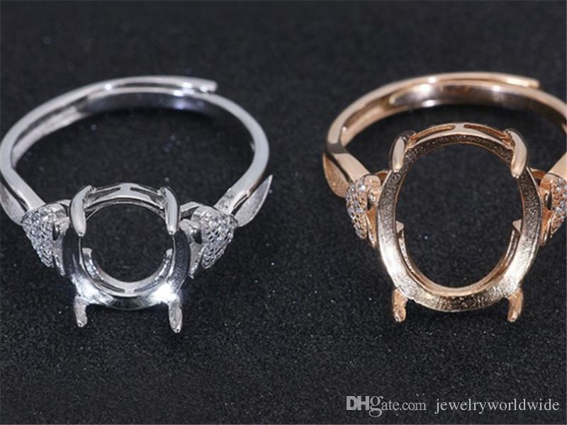 애플 측면 CZ 빈 기본 솔리드 925 스털링 실버 여성 보석 신부 신부 들러리 웨딩 선물과 타원형 돌에 대한 세미 마운트 반지 설정