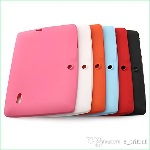 Colorful Silicone Case Cover For Q8 Q88 With Flash Light Flashlight A33 Quad-core Android 4.4 Tablet PC 7 Inch Protective Shell DHL