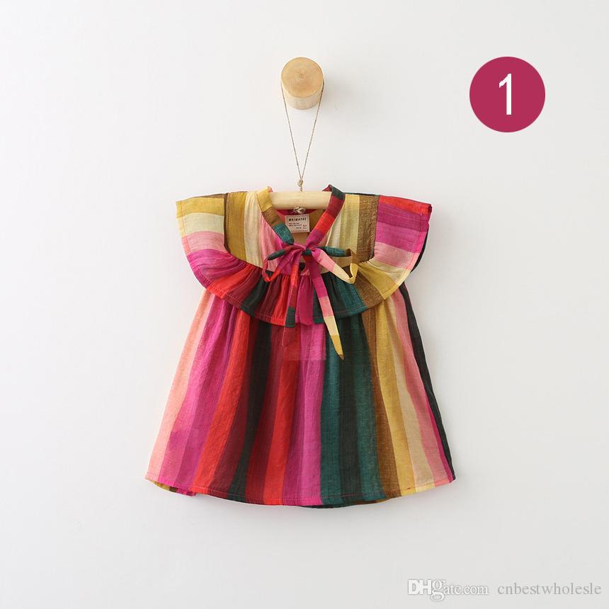744bfce72 Compre Verão Bebê Menina Colorida Listrada Camisas Crianças Menina Princesa  De Algodão Jumper Tops Bebê Sem Mangas Arco Blusa Roupa Dos Miúdos De ...