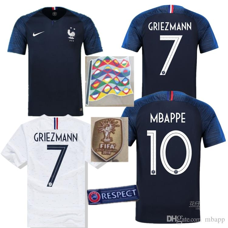 2019 2 Stars World Cup 2018 French Soccer Jerseys Champion Mbappe GRIEZMANN  Men 18 19 COMAN GIROUD POGBA PAYET KANTE Home Away Football Shirts From  Mbapp 93f9fc3d5