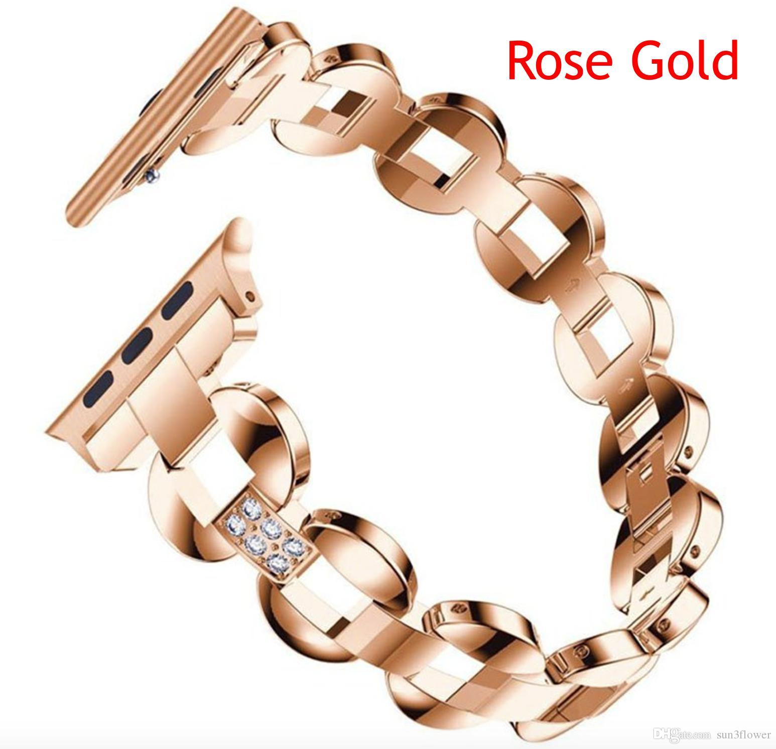 3aedb701495 For Apple Watch Band 40mm 44mm Rhinestone Diamond Women Fashion Ladies  Smart Watch Metal Band Series 4 Strap Leather Watches With Leather Strap  From ...