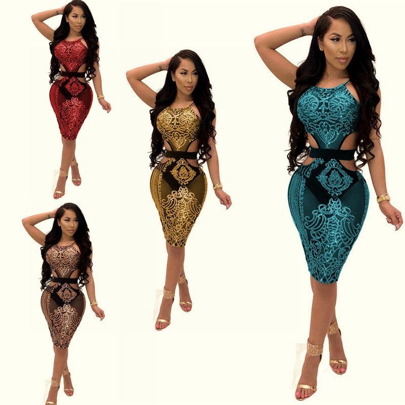 a49629e04b4 Sexy Sequins Bodycon Dress Sleeveless for Women 2018 Hot Halter Tight Dress  Fashion Performance Party Cocktail Nightclub Dresses Pencil Dress Party  Cocktail ...