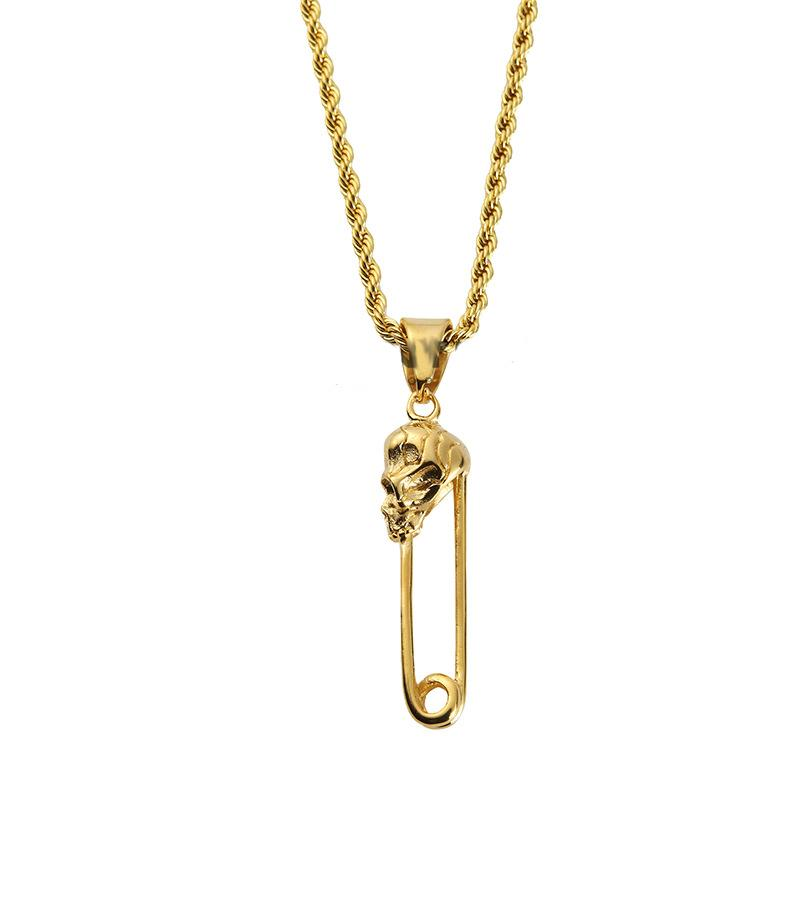 personal steel men new chain pendant product gift gold pin golden for hop charm necklace titanium wholesale hip skeleton rope