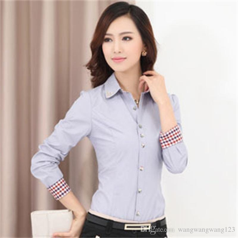 Europe Russie printemps automne femmes carrière vêtements de bureau blouse tops chemise à manches longues rouge blanc coréen dame Slim mélange de coton formel Workwear
