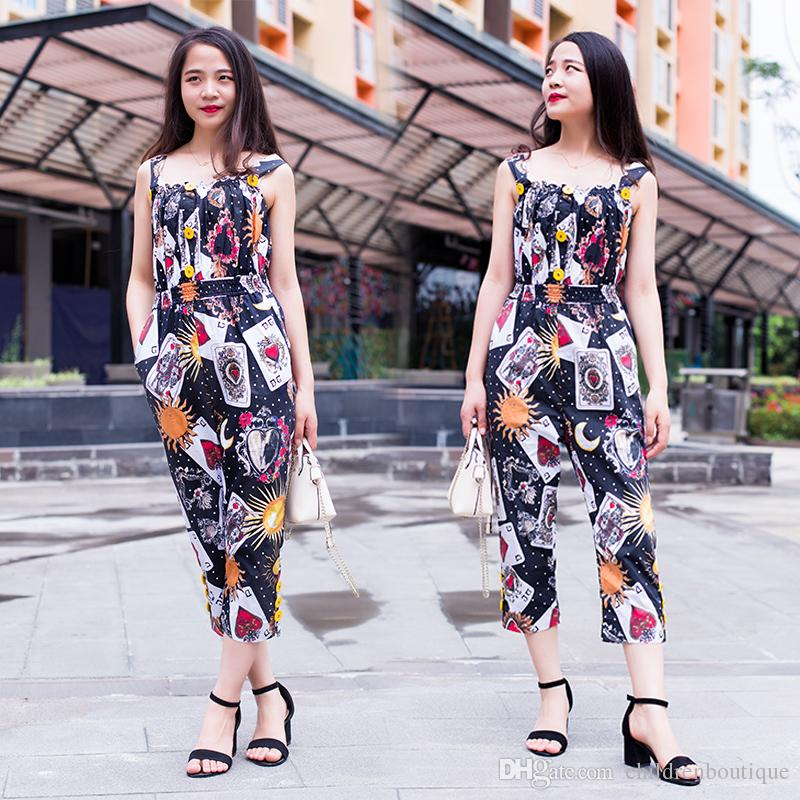 001f82f80ea Mother And Daughter Matching Clothrs Children Girls Summer Jumpsuits Poker  Printing O Neck Sleeveless Princess Party Jumpsuits Kids Clothes Mother  Daughter ...