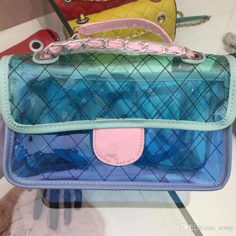 2018 hot sale summer brand 25cm Medium PVC bag women clear Sweet fresh macaron double flap shoulder bag ladies genuine leather handbag gifts