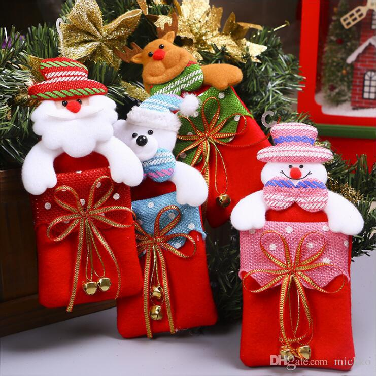Kids Christmas Party Bowknot Gift Bag Indoor Christmas Tree Pendant ...