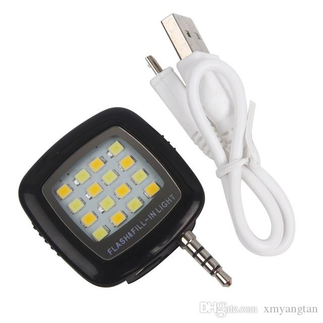 Mini Smartphone Portable LED Flash Fill Light 16 Leds For iPhone IOS Android Cell Phone Camera Selfie Fill Light 16 LEDs