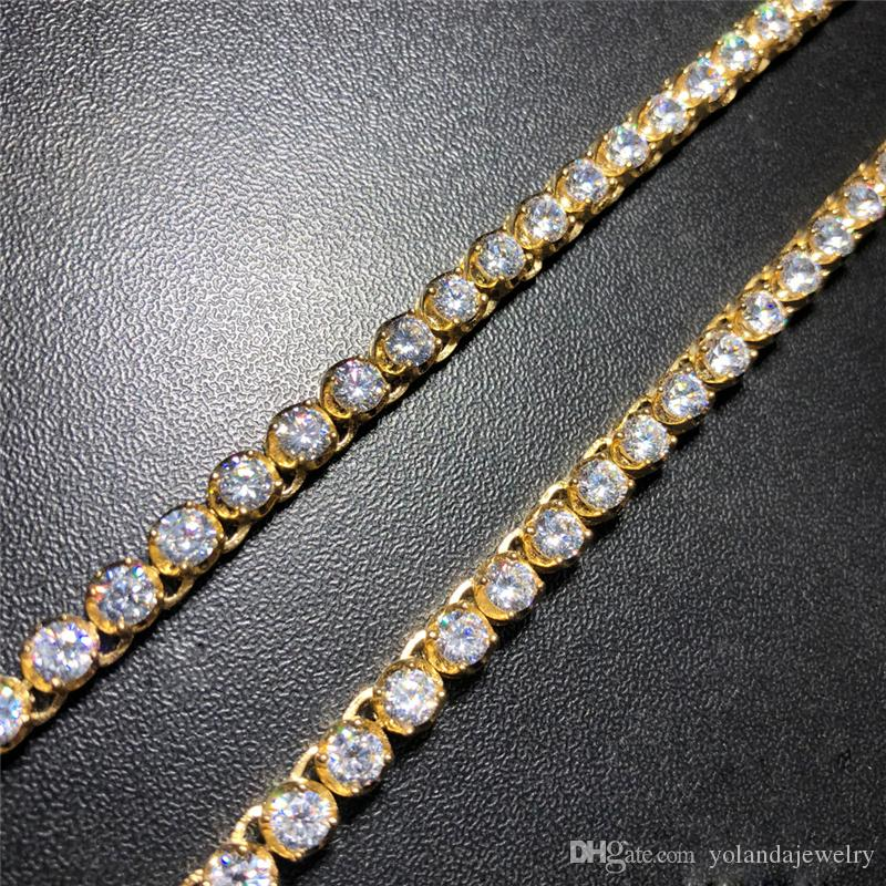 New Fashion Trendy High End Men Hip Hop Necklace PVD Yellow Gold Plated Stainless Steel 4mm CZ Steel Tennis Necklace for Men