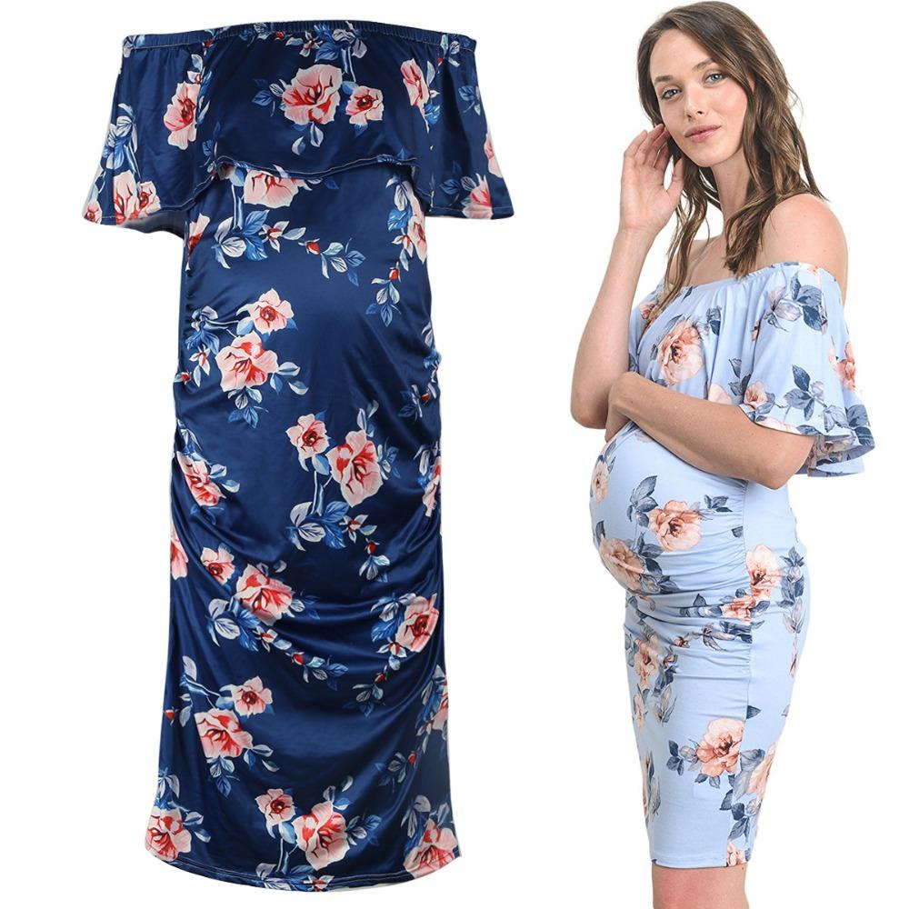 d85877584230 2019 Puseky Maternity Dresses Off Shoulder Ruffles For Photo Shoot Stretch  Milk Silk Pregnant Gown Jersey Pregnancy Clothes Plus Size From Localking,  ...