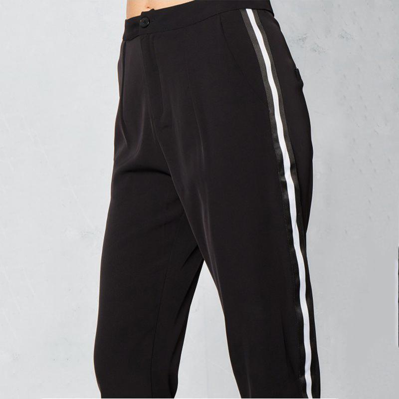 Cintura alta calças listra lateral desportivo branco mulheres rua chique preto formal calças casuais senhoras elegantes calças de treino afilado