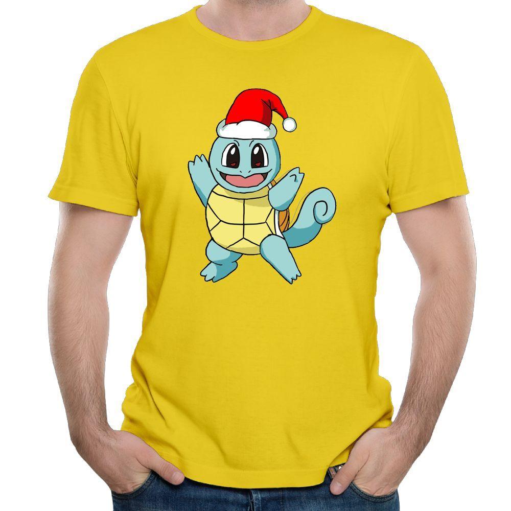 Мужская с коротким рукавом мужская O-образным вырезом футболки мальчики желтый футболка Футболка Squirtle Рождество