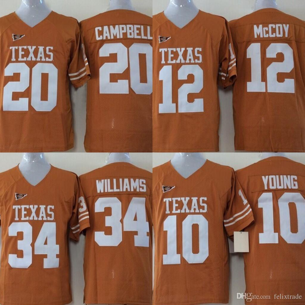 cheap for discount 0c554 27d0a Youth Texas Longhorns Jerseys #34 Ricky Williams 12 Colt McCoy 20 Earl  Campbell 10 Vince Young College Football Jersey