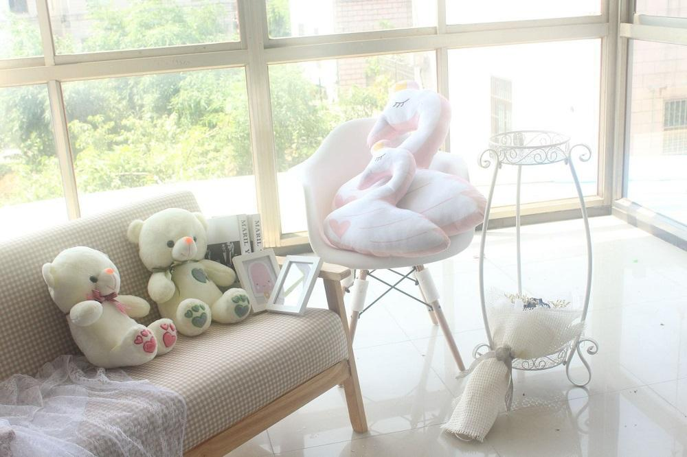 45cm Soft Crown Swan Plush Toy Pink Swan Pillow Cushion Baby Appease Doll Girl Gift Home Decoration