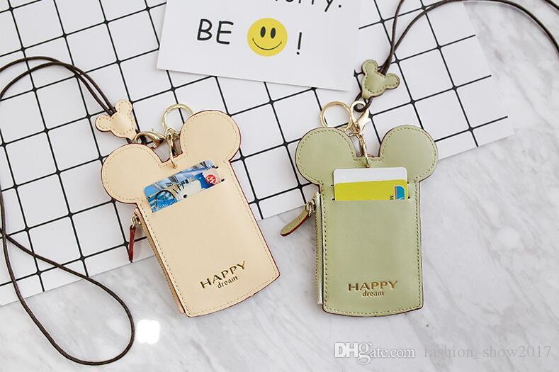Cute kids Cartoon Ear Letter Happy Dream Lanyard Neck Strap Card Holder Name Credit Card Holders Coin Purse