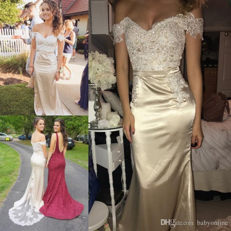 396c49ea 2018 Champagne sirena vestidos de dama de honor para bodas en el campo  occidental Sexy fuera de los hombros apliques de lentejuelas vestido de ...