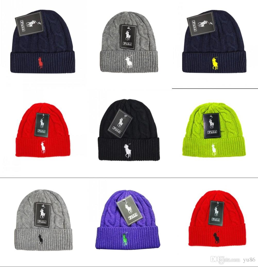 c7d283eeece POLO Beanies Small Horse Embroidery Knitted Autumn Winter Warm Hats ...
