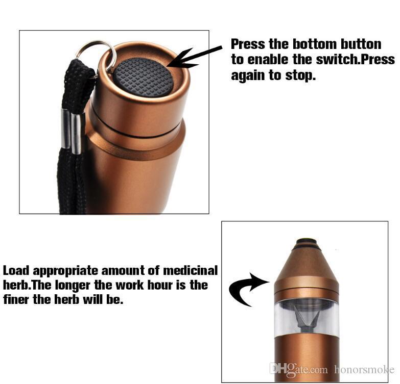 Elétrica Herb eletrônico Pen Grinder carregamento USB cigarros de Metal Grinders Tobacco Herb Pimenta Mills Abrader 5 cores com caixa de presente