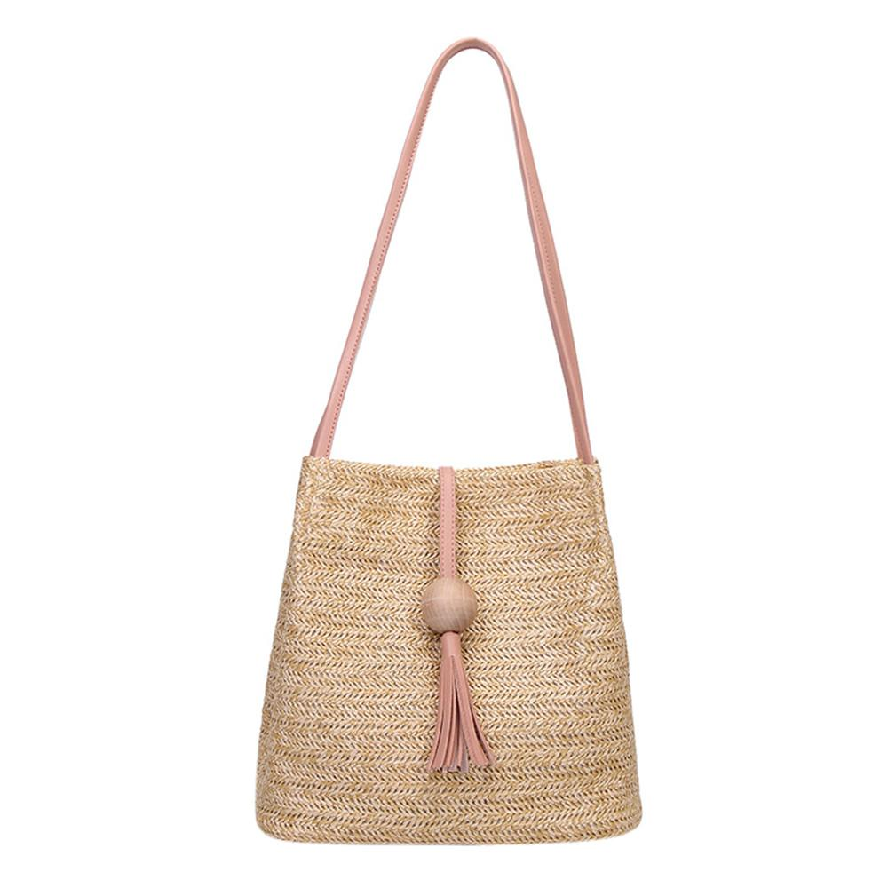 94d8c5352f41 2018 Vip Dropshipping Women Bags Women Fashion High Capacity Weave Wooden  Beads Tassels Shoulder Bucket Bag Bolsos Mujer Rosetti Handbags Cheap Bags  From ...