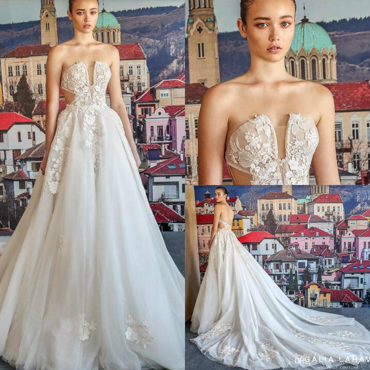 eb7c870b08eda Discount Fancy Strapless Designer Wedding Dresses Sexy Backless Illusion  Exposed Boning Tulle Bridal Gowns Custom Made Plus Size Vestidos De Noiva  Tea ...