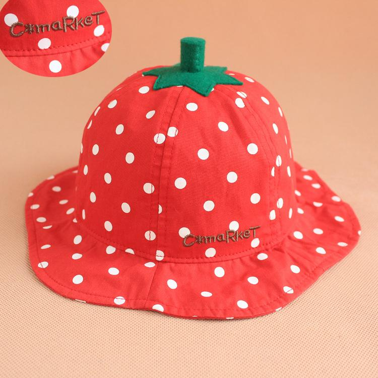 2019 Summer Cute Kids Strawberry Design Bucket Hat Fashion Children Novelty  Sunhat Contrast Color Baby Visor Cap New From Top seller6 dbb009ce9a02