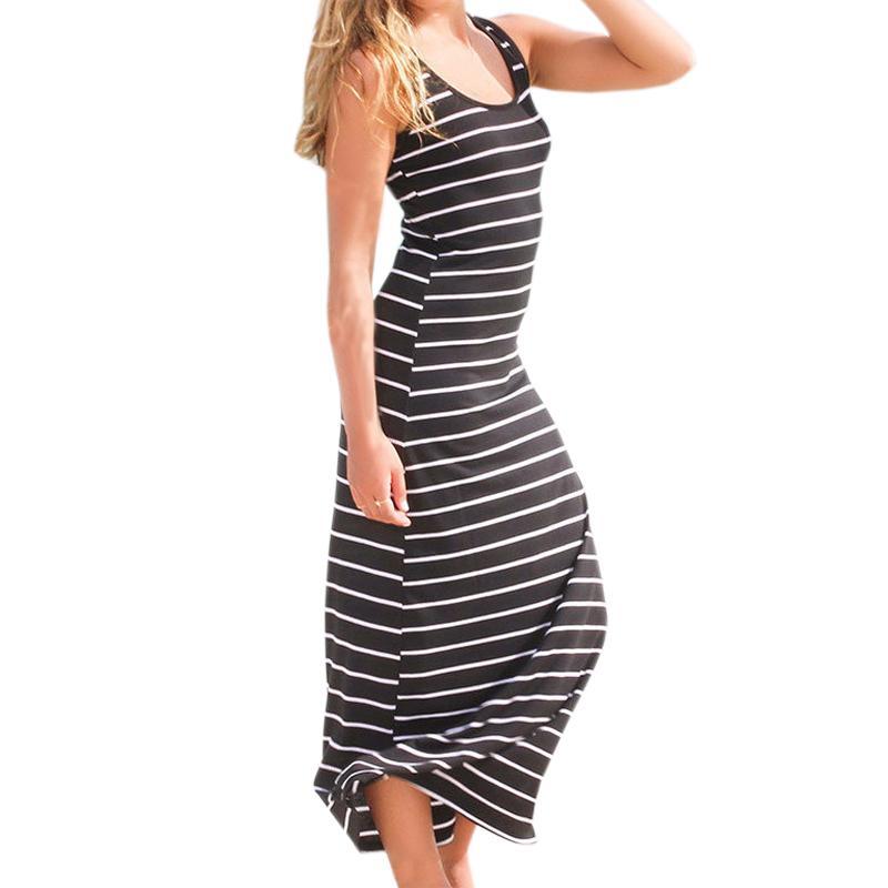 ff89da62ff7 Großhandel 2019 Sommerkleid Frauen Gestreifte Kleider Boho Langes Kleid  Sleeveless Strand Weste Sexy Lange Sommerkleid Plus Größe M0095 Von Your01