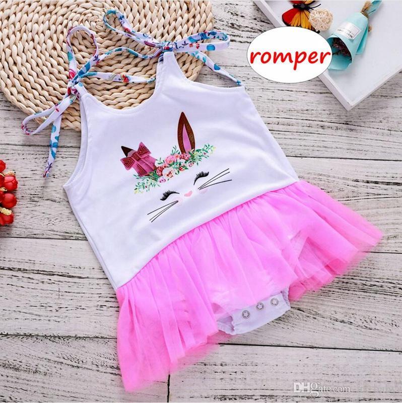 5cb41f905 Compre Vestido De Niña Con Estampado De Conejo Ins Pelele De Verano Sin Mangas  Para Niños Mono Rosa De Encaje Con Tutú De Algodón Pelele 0 3años A  4.83  Del ...