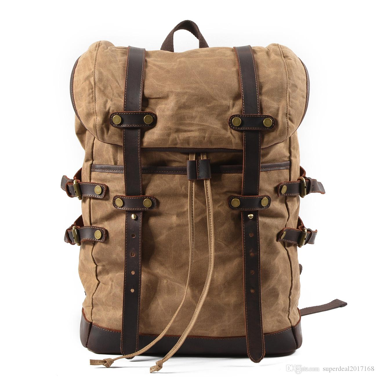 b56d977e78a7 New Arrival Unisex Vintage Oil Wax Canvas Backpack Travel Bag School Bag  Rucksack Satchel Outdoor Camping Hiking Bag Pack Back Pack Mochilas  Jansport From ...