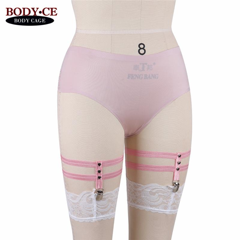 BODY CAGE Womens Pink Harness Garters Pair Leg Ring Garter Goth Bondage Black Elastic Thigh Stocking Suspender Party Dancewear