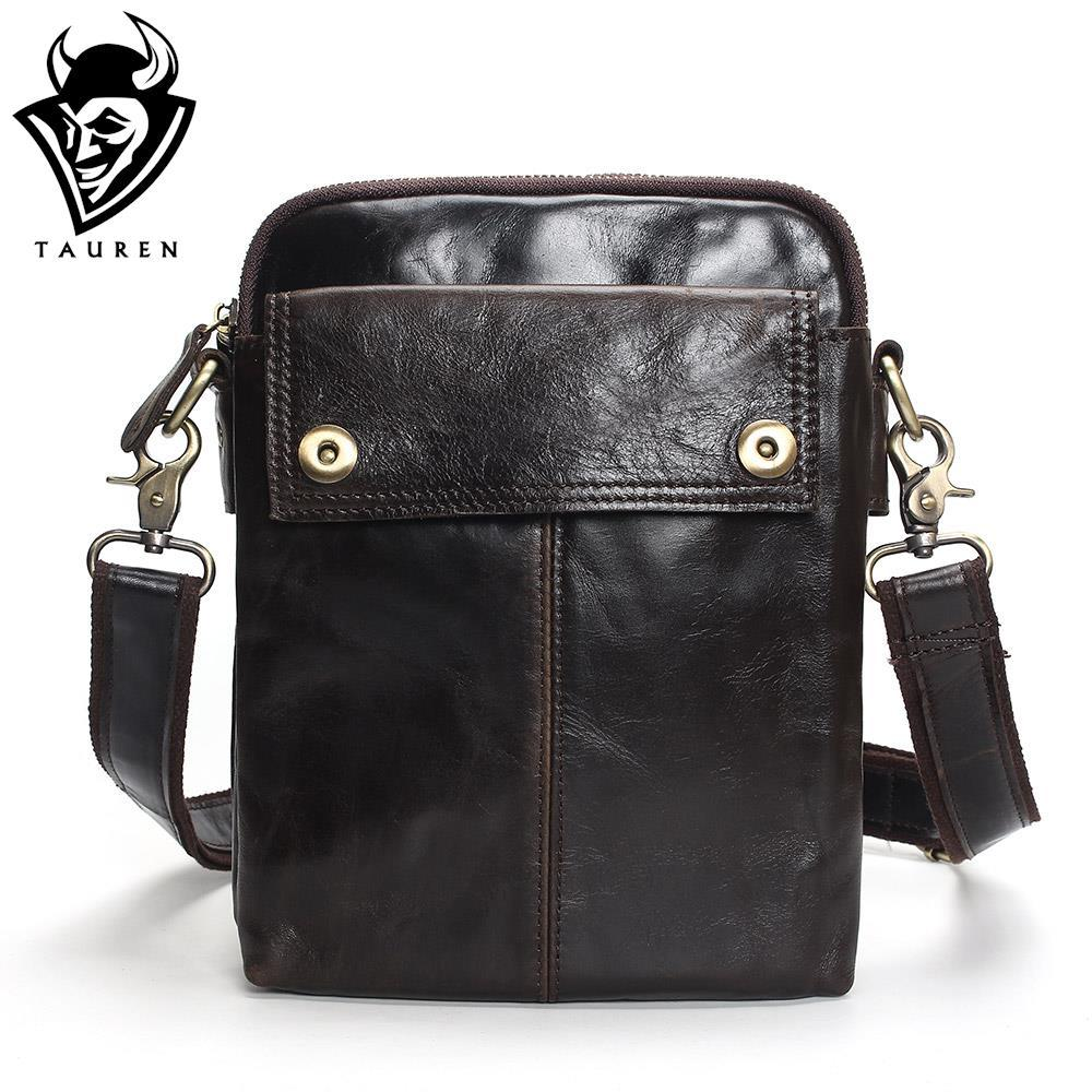 7d22a9f70f88 TAUREN Flap New Cheap Genuine Leather Vintage Casual Bag Men S Shoulder Bag  Small Messenger Travel Bags For Mobile Phone Ivanka Trump Handbags Western  ...