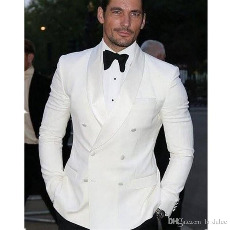 Handsome White Double Breasted Men's Wedding Dress Shirt Pants Design Men's Suit 2 Suit Pants Custom Suit 2019