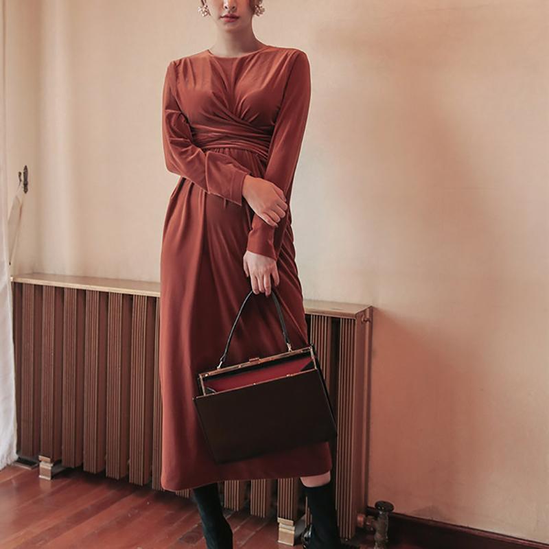 check out 2c2c2 ffd97 Vestito da sera in velluto rosso da donna elegante con cintura o-collo  manica lunga ufficio maxi abiti lunghi da donna casual vestido