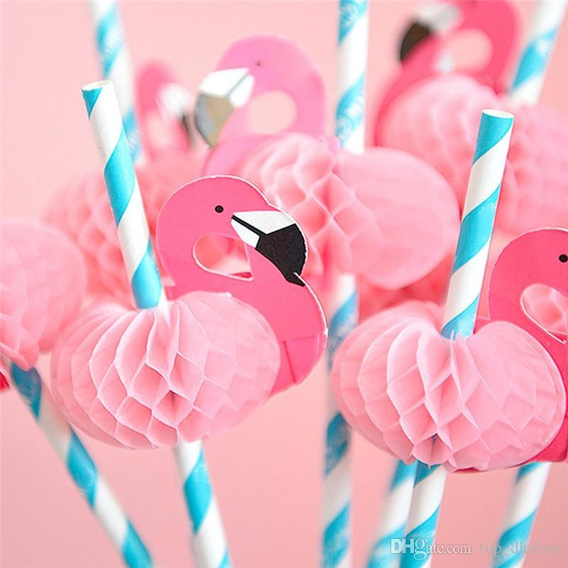 7330157e2e276 Flamingo Paper Straws Staright Disposable Drinking Straw Pink Blue Striped  Paper Straw Cocktail Sucker Beach Party Wedding Tableware Paper Straws  Disposable ...