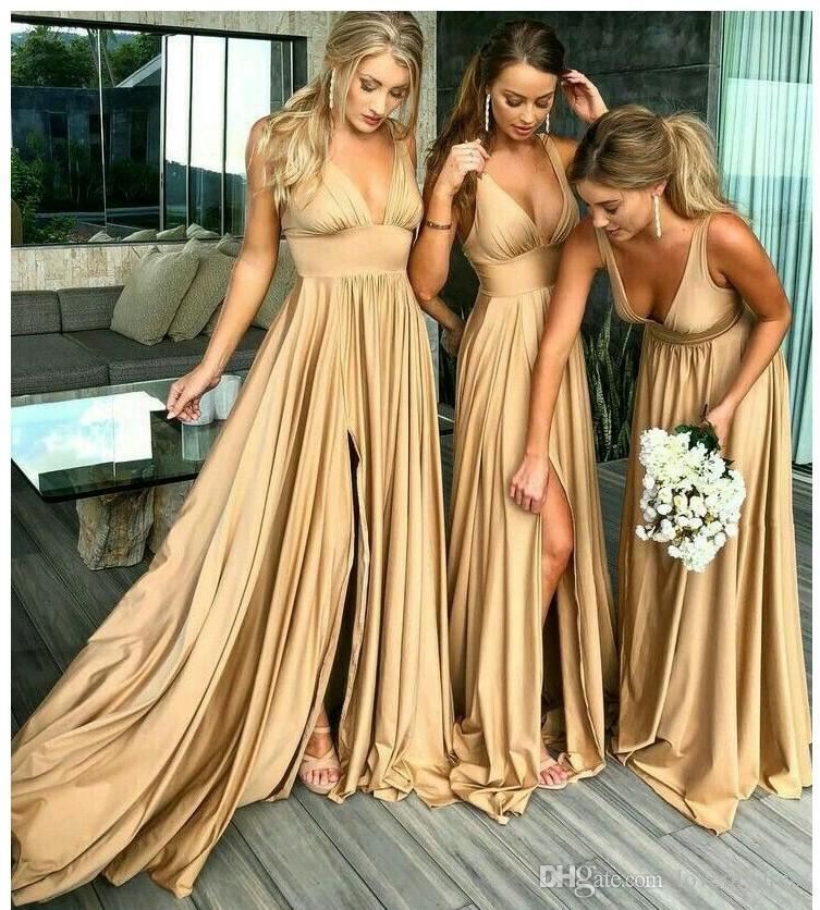 2018 Altın Nedime Resmi Elbiseler Düğün Parti Için Derin V boyun Yan Yarık Sapanlar Pileli İmparatorluğu Bel Balo Abiye Törenlerinde Ile Ucuz