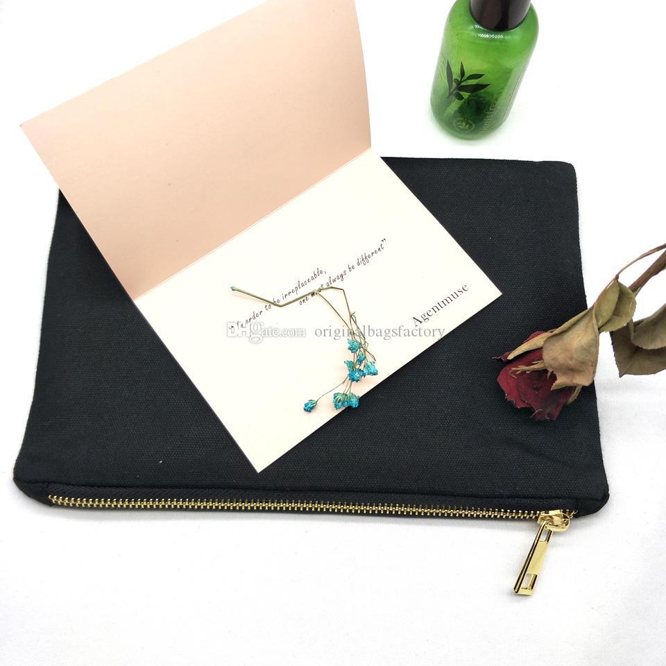 bolsa de maquillaje lona de algodón negro 7x10 pulgadas con 12 oz de metal de oro con cremallera forro negro bolsas de cosméticos de lona negro para el bricolaje de la fábrica en la acción