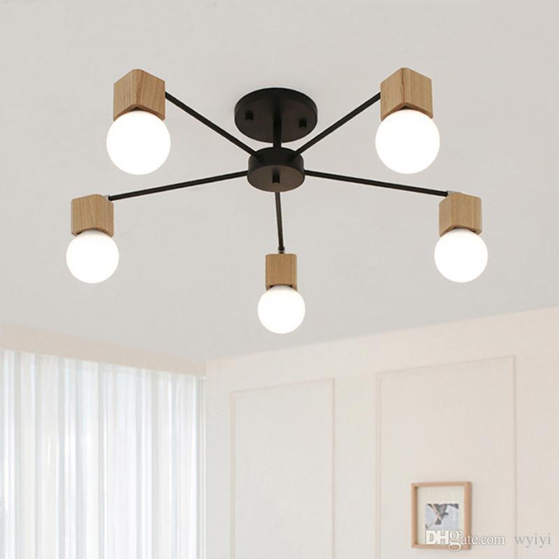 Fashion modern lamps LED Ceiling lights indoor lighting wood lamp holder  living dining room Bedroom bar shop light fixture AC 110-240V