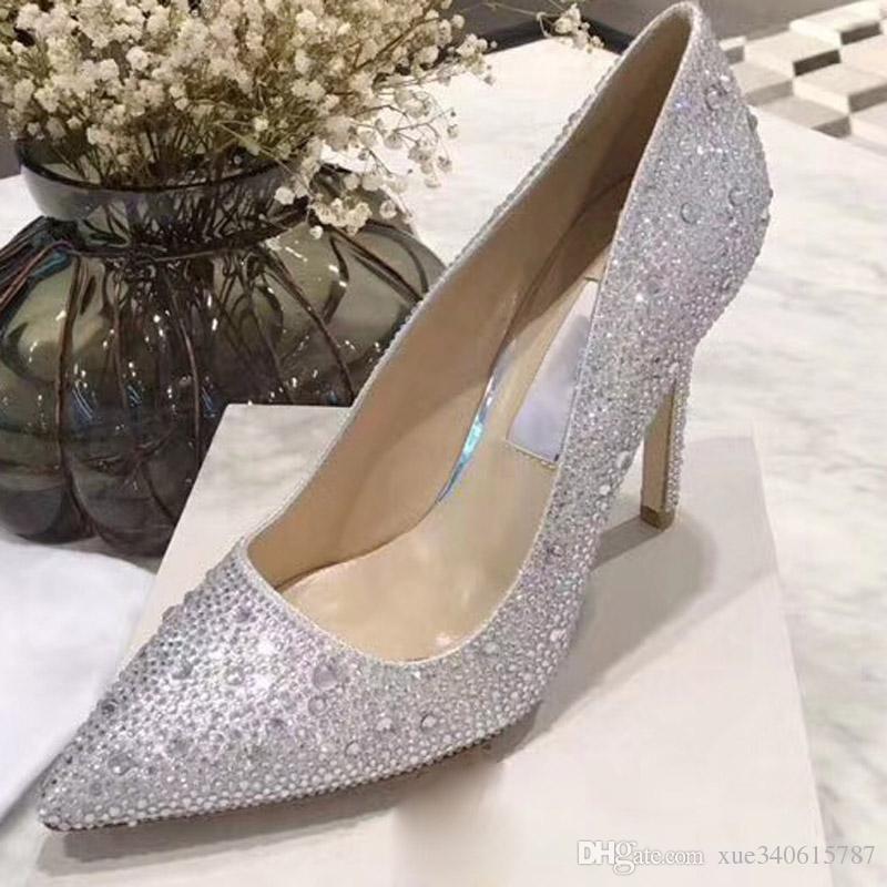 8c94d9c36855a Neue Mode Nude Patent Studded Bohrer Diamant bedeckt Rosa High Heel Schuhe  Damen fshion Schuhe Wurzel Slipper Schuhe mit Box