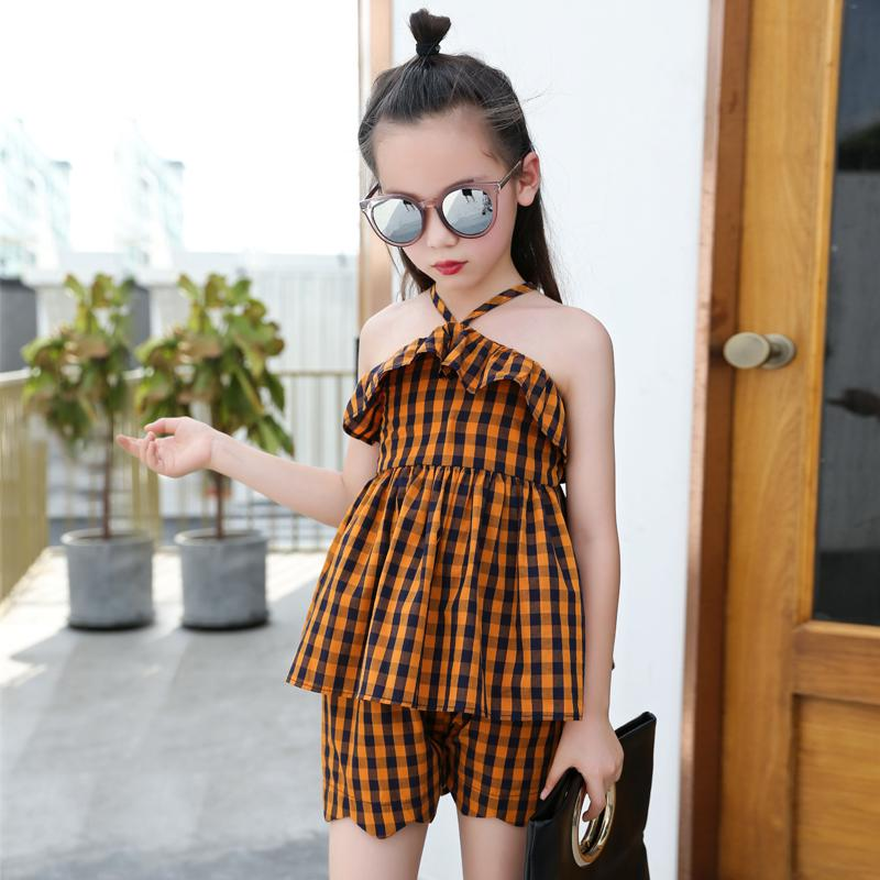 992af023a5a Girls summer dress 2018 new fashion suit children summer fashion two-piece  set of foreign children s clothing tide clothes