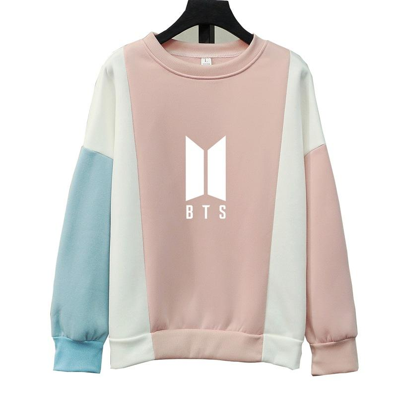 Compre Moda Harajuku Kpop BTS GOT7 EXO We Are One K Pop Ropa Kawaii Rosa  Azul Patchwork Sudadera Sudaderas Mujeres Pullovers Tops A  18.62 Del  Colin scot ... bd35e424b8b